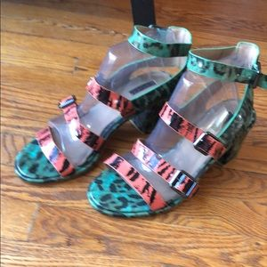 EUC Patent Leather Green Orange Black sandals
